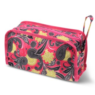 Zodaca Pink Yellow Paisley Travel Cosmetic Makeup Case Bag Pouch Toiletry Zip Organizer