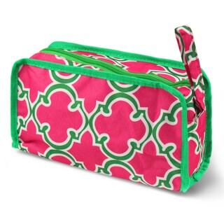 Zodaca Pink Quatrefoil Travel Cosmetic Makeup Case Bag Pouch Toiletry Zip Organizer