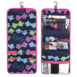 Zodaca Multicolor Bows Travel Hanging Cosmetic Toiletry Carry Bag Wash Organizer Storage