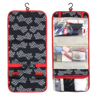 Zodaca Black/ White Houndstooth Bow with Red Trim Travel Hanging Cosmetic Toiletry Carry Bag Wash Organizer Storage
