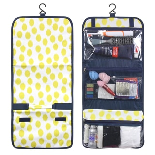 Zodaca Clear Yellow Dots with Blue Trim Travel Hanging Cosmetic Toiletry Carry Bag Wash Organizer Storage
