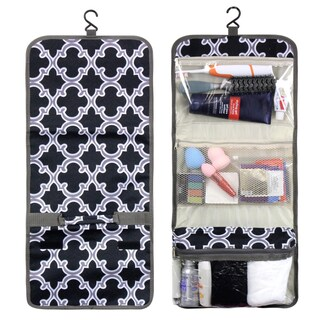 Zodaca Black Quatrefoil Travel Hanging Cosmetic Toiletry Carry Bag Wash Organizer Storage