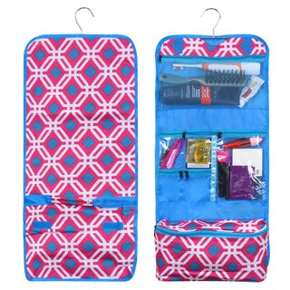 Zodaca Pink Graphic Travel Hanging Cosmetic Carry Bag Toiletry Wash Organizer Storage