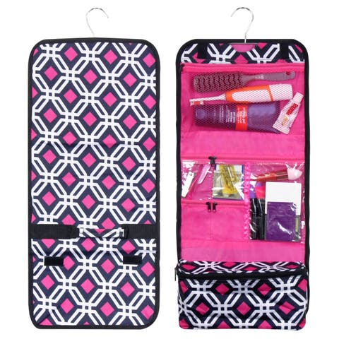 Zodaca Black Graphic Travel Hanging Cosmetic Carry Bag Toiletry Wash Organizer Storage