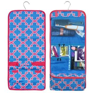 Zodaca Blue Quatrefoil Travel Hanging Cosmetic Carry Bag Toiletry Wash Organizer Storage