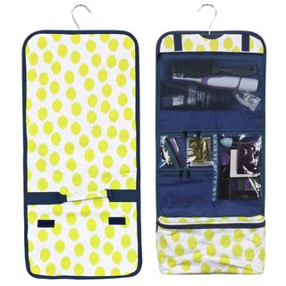 Zodaca Yellow Dots Blue Trim Travel Hanging Cosmetic Carry Bag Toiletry Wash Organizer Storage