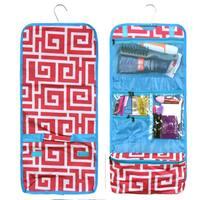 Zodaca Pink Greek Key with Blue Trim Travel Hanging Cosmetic Carry Bag Toiletry Wash Organizer Storage