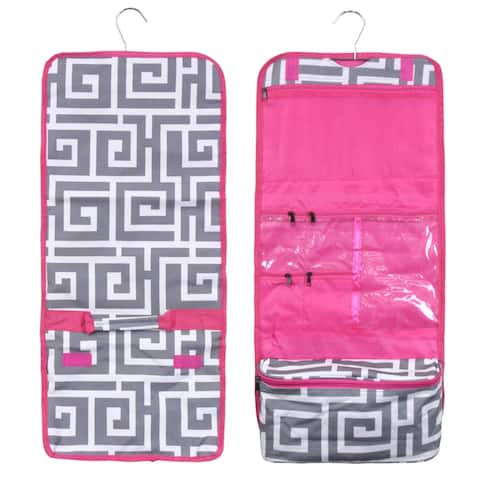 Zodaca Greek Key with Pink Trim Travel Hanging Cosmetic Carry Bag Toiletry Wash Organizer Storage