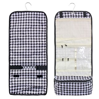 Zodaca Houndstooth Black Trim Travel Hanging Cosmetic Carry Bag Toiletry Wash Organizer Storage