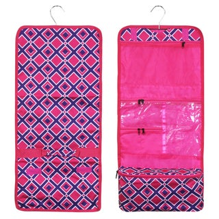 Zodaca Pink Times Square Travel Hanging Cosmetic Carry Bag Toiletry Wash Organizer Storage