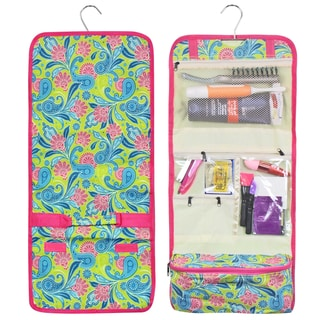 Zodaca Green Pink Paisley Travel Hanging Cosmetic Carry Bag Toiletry Wash Organizer Storage