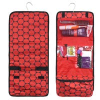 Zodaca Red Dots on Black Travel Hanging Cosmetic Carry Bag Toiletry Wash Organizer Storage