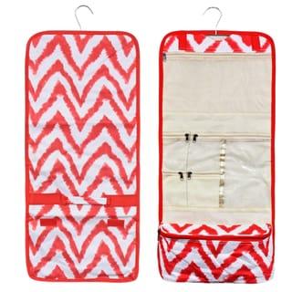 Zodaca Red/ White Chevron Travel Hanging Cosmetic Carry Bag Toiletry Wash Organizer Storage