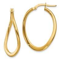 14 Karat  2mm Polished Tapered Twist Hoop Earrings