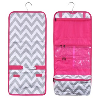 Zodaca White/ Grey Chevron with Pink Trim Travel Hanging Cosmetic Carry Bag Toiletry Wash Organizer Storage