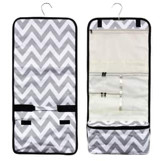 Zodaca Grey/ White Chevron Travel Hanging Cosmetic Carry Bag Toiletry Wash Organizer Storage|https://ak1.ostkcdn.com/images/products/16285114/P22647231.jpg?impolicy=medium