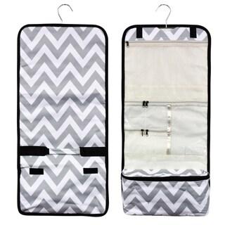 Zodaca Grey/ White Chevron Travel Hanging Cosmetic Carry Bag Toiletry Wash Organizer Storage