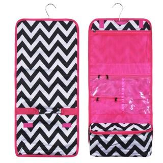 Zodaca Black White Pink Trim Travel Hanging Cosmetic Carry Bag Toiletry Wash Organizer Storage
