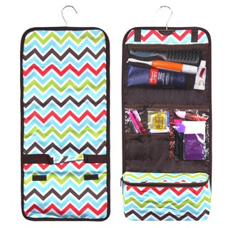 Zodaca Multicolor Chevron Travel Hanging Cosmetic Carry Bag Toiletry Wash Organizer Storage