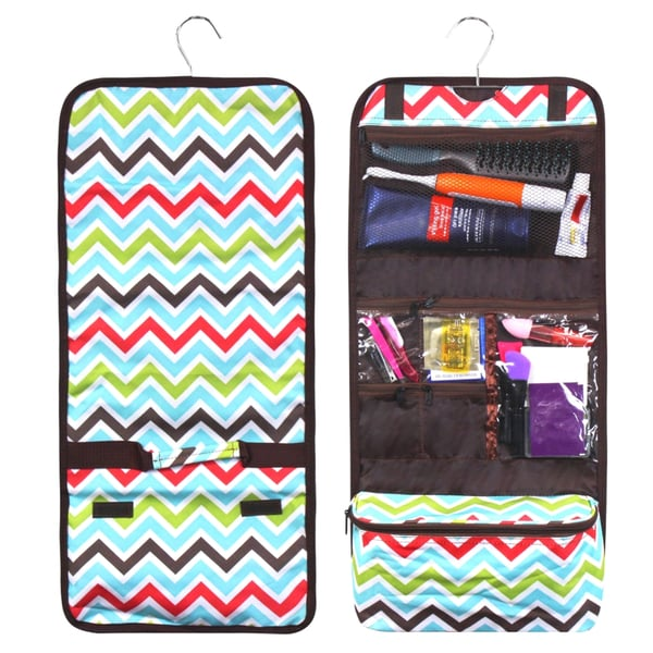 Zodaca Multicolor Chevron Travel Hanging Cosmetic Carry Bag Toiletry Wash  Organizer Storage 0bab916e46cb3
