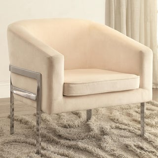Contemporary Sleek Barrel Design Cream Accent Chair