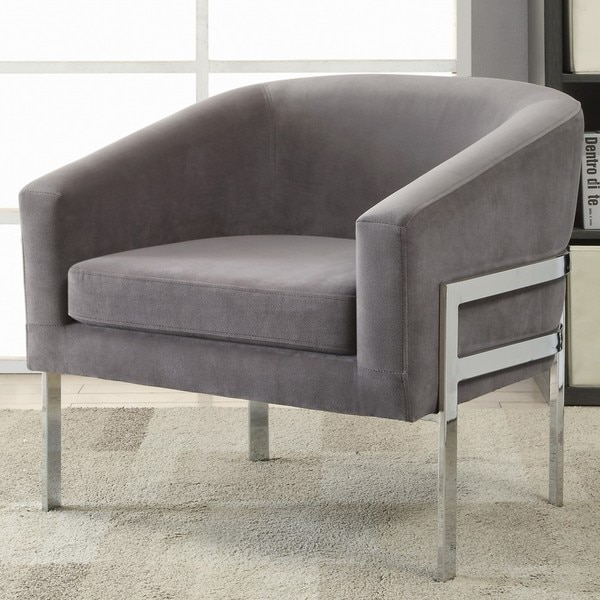 Contemporary Sleek Barrel Design Grey Accent Chair