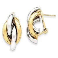 14 Karat Two-tone Swirl Omega Back Post Earrings