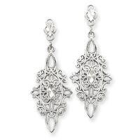 14 Karat White Gold Diamond-cut Filigree Dangle Earrings