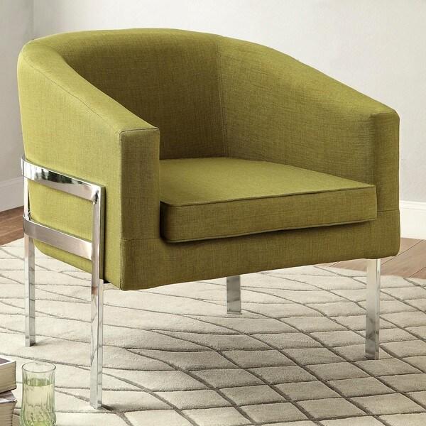 Shop Contemporary Sleek Barrel Design Green Accent Chair