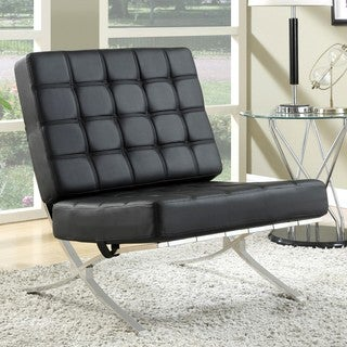 Modern Plush Waffle Design Black Large Living Room Accent Chair