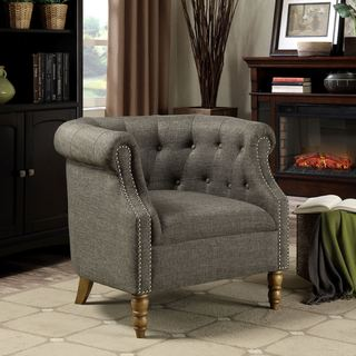 Contemporary Barrel Style Button Tufted Accent Chair