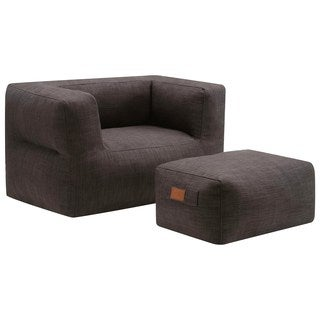 Living Room Cozy Grey Frameless Bean Bag Style Chair and Ottoman Set