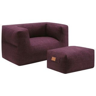 Living Room Cozy Purple Frameless Bean Bag Style Chair and Ottoman Set