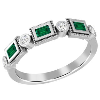 Jeweltique Designs 10k White Gold Emerald and 1/5 TDW Diamond Ring