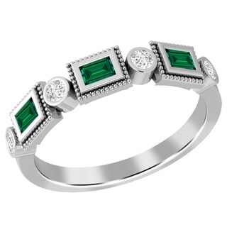 Jeweltique Designs 10k White Gold Emerald and 1/5 TDW Diamond Wedding Ring