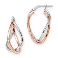 14 Karat White & Rose Gold Fancy Hoops