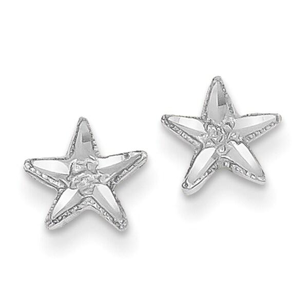 14 Karat White Gold Diamond Cut Starfish Earrings