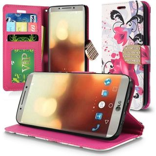 Insten Multi-Color Lily Leatherette Case Cover Lanyard with Stand/ Wallet Flap Pouch/ Diamond For LG G6