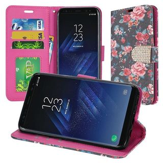 Insten Multi-Color Tropical Flowers Leatherette Case Cover Lanyard with Stand/ Wallet Flap Pouch/ Diamond For Samsung Galaxy S8