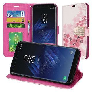 Insten Multi-Color Cherry Blossom Leatherette Case Lanyard with Stand/ Wallet Pouch/ Diamond For Samsung Galaxy S8 Plus S8+