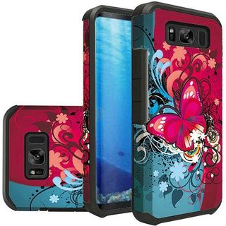 Insten Multi-Color Butterfly Bliss Slim Hard Snap-on Dual Layer Hybrid Case Cover For Samsung Galaxy S8