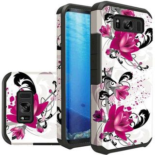 Insten Purple Lily Slim Hard Snap-on Dual Layer Hybrid Case Cover For Samsung Galaxy S8