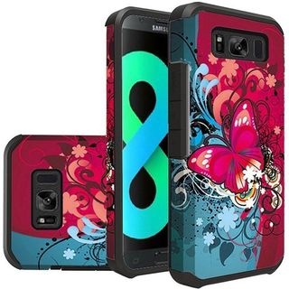 Insten Multi-Color Butterfly Bliss Slim Hard Snap-on Dual Layer Hybrid Case Cover For Samsung Galaxy S8 Plus S8+