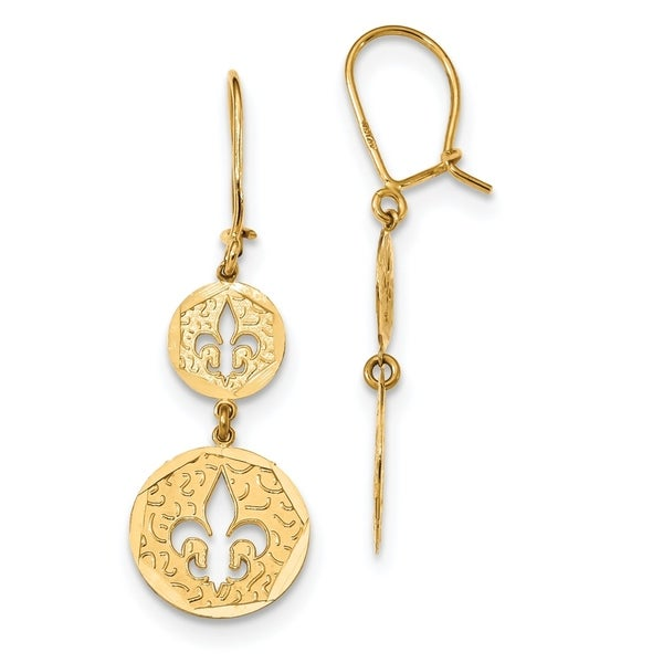 14K Yellow Gold Diamond Cut Fleur De Lis Dangle Kidney Wire Earrings by Versil