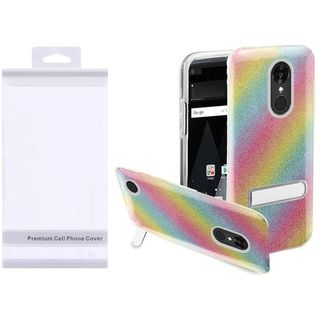Insten Colorful Rainbow Hard Snap-on Glitter Case Cover with Stand For LG Aristo/ K8 (2017)
