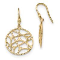 14 Karat Gold Textured Circle Dangle Shepherd Hook Earrings