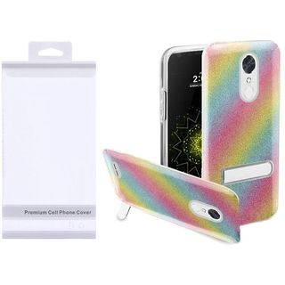 Insten Colorful Rainbow Hard Snap-on Glitter Case Cover with Stand For LG Harmony/ K10 (2017)/ K20 Plus/ K20 V