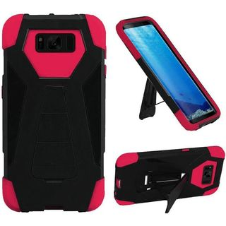 Insten Black/ Hot Pink T-Stand Hard PC/ Silicone Dual Layer Hybrid Rubberized Matte Case Cover with Stand For Samsung Galaxy S8