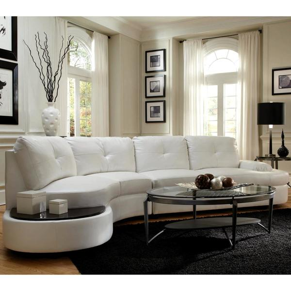Modern Style Curved Sectional Sofa With Built In Wooden Top Ottoman