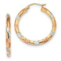 14 Karat Yellow Gold With White & Rose Rhodium Polished, Satin & Diamond Cut Hoop Earrings